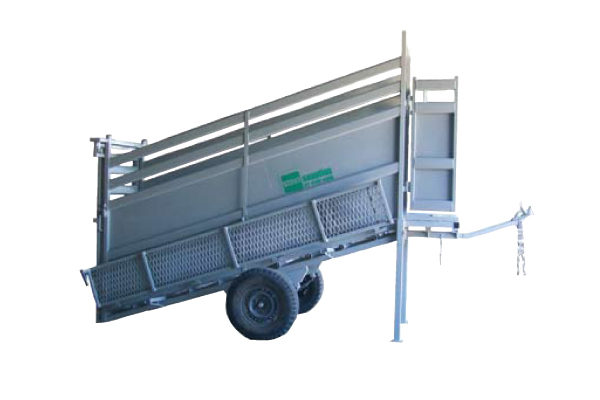 Portable cattle ramp with Steel Supplies Charters Towers branding