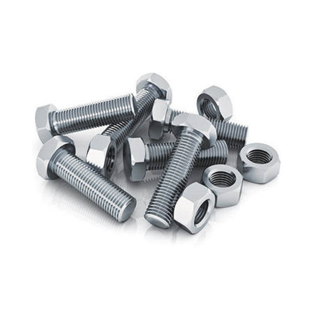 Fastenings nuts and bolts on white background