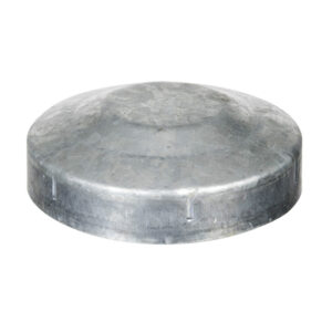 Galvanised circular post cap on white background steel supplies