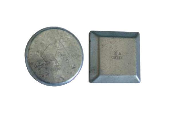 Circular and square galvanised post caps