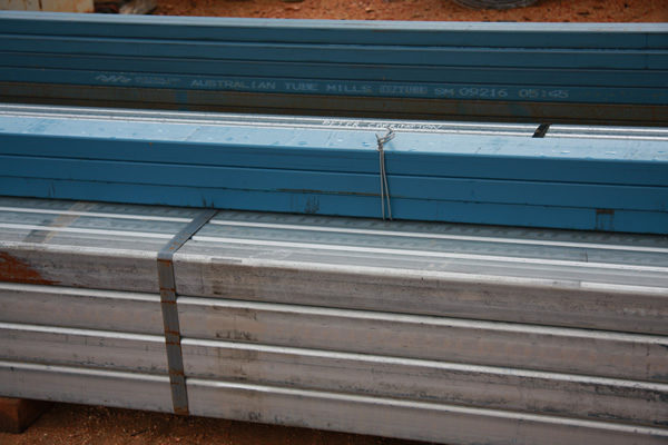 square steel pipes in a stack steel supplies