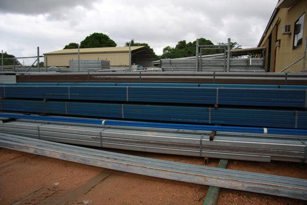 long steel bars in a yard