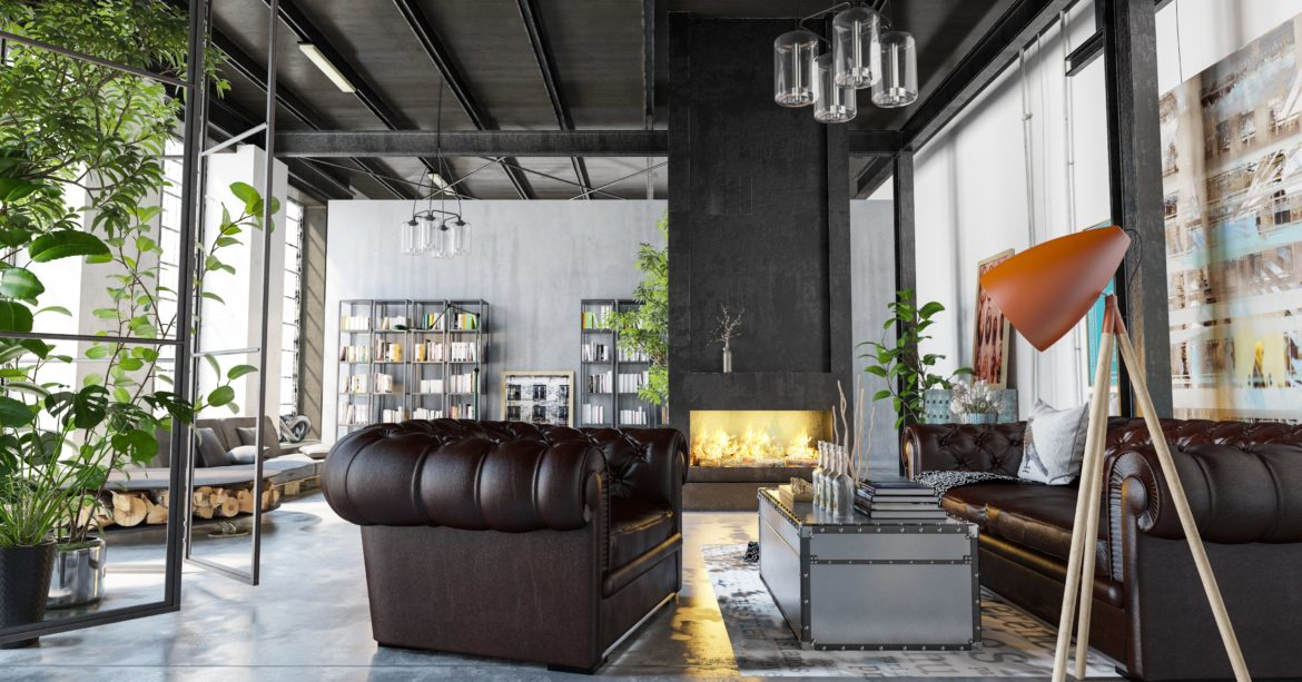 Use of exposed steel beams in a beautiful modern home