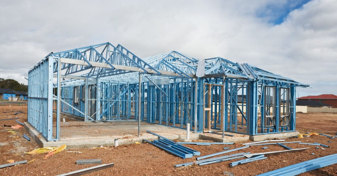 Steel framing home build construction